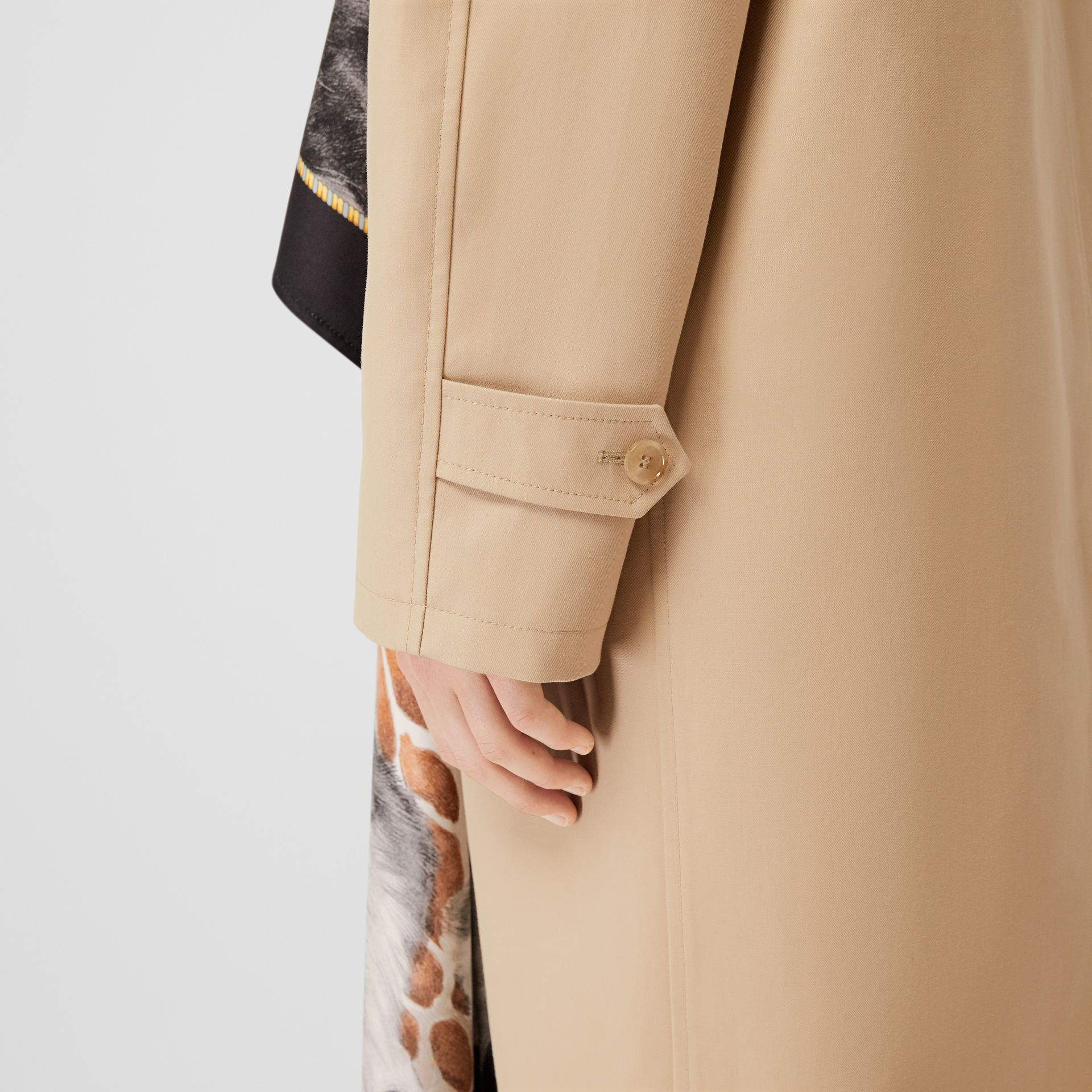 Animalia Print Silk Scarf Detail Cotton Car Coat in Soft Fawn - Women | Burberry - gallery image 4