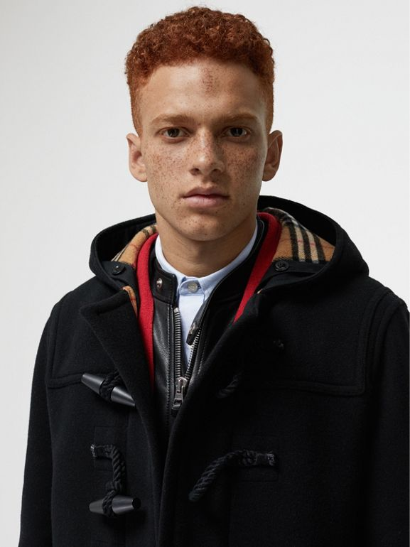 Vintage Check Detail Wool Blend Hooded Duffle Coat in Black - Men | Burberry Australia - cell image 1