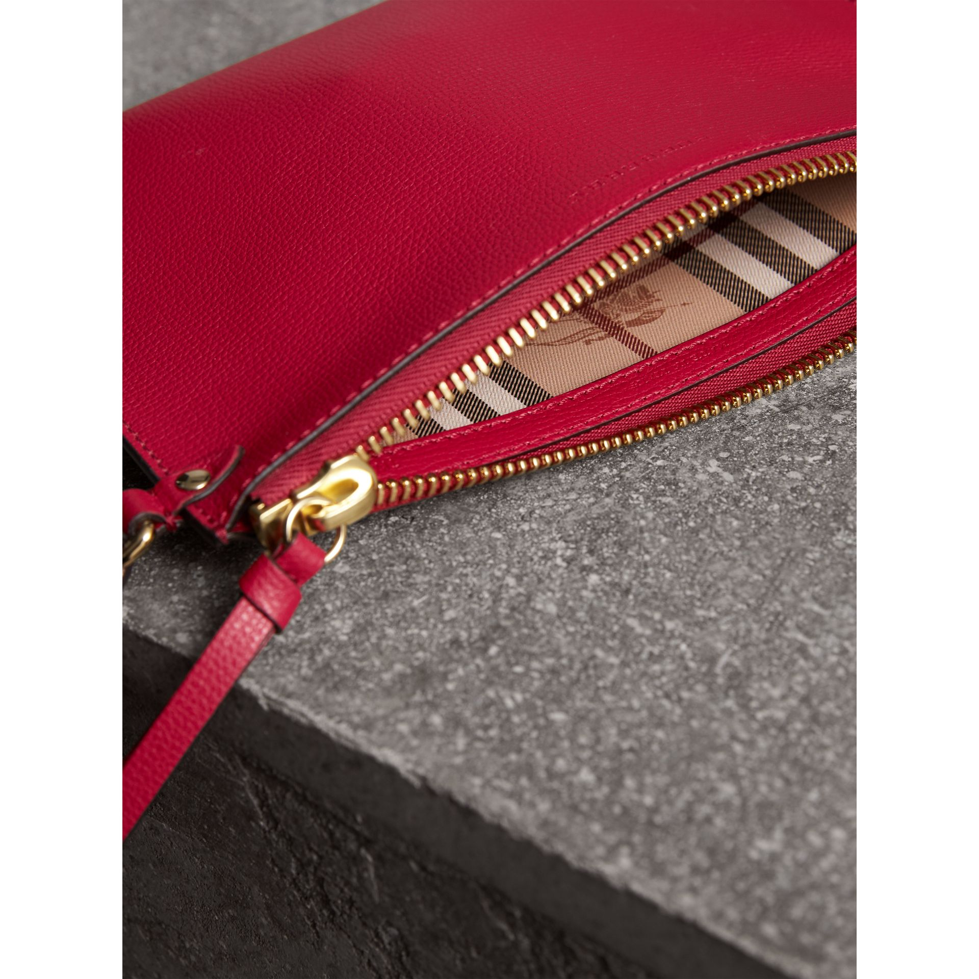 Haymarket Check and Leather Pouch in Poppy Red - Women | Burberry - gallery image 5