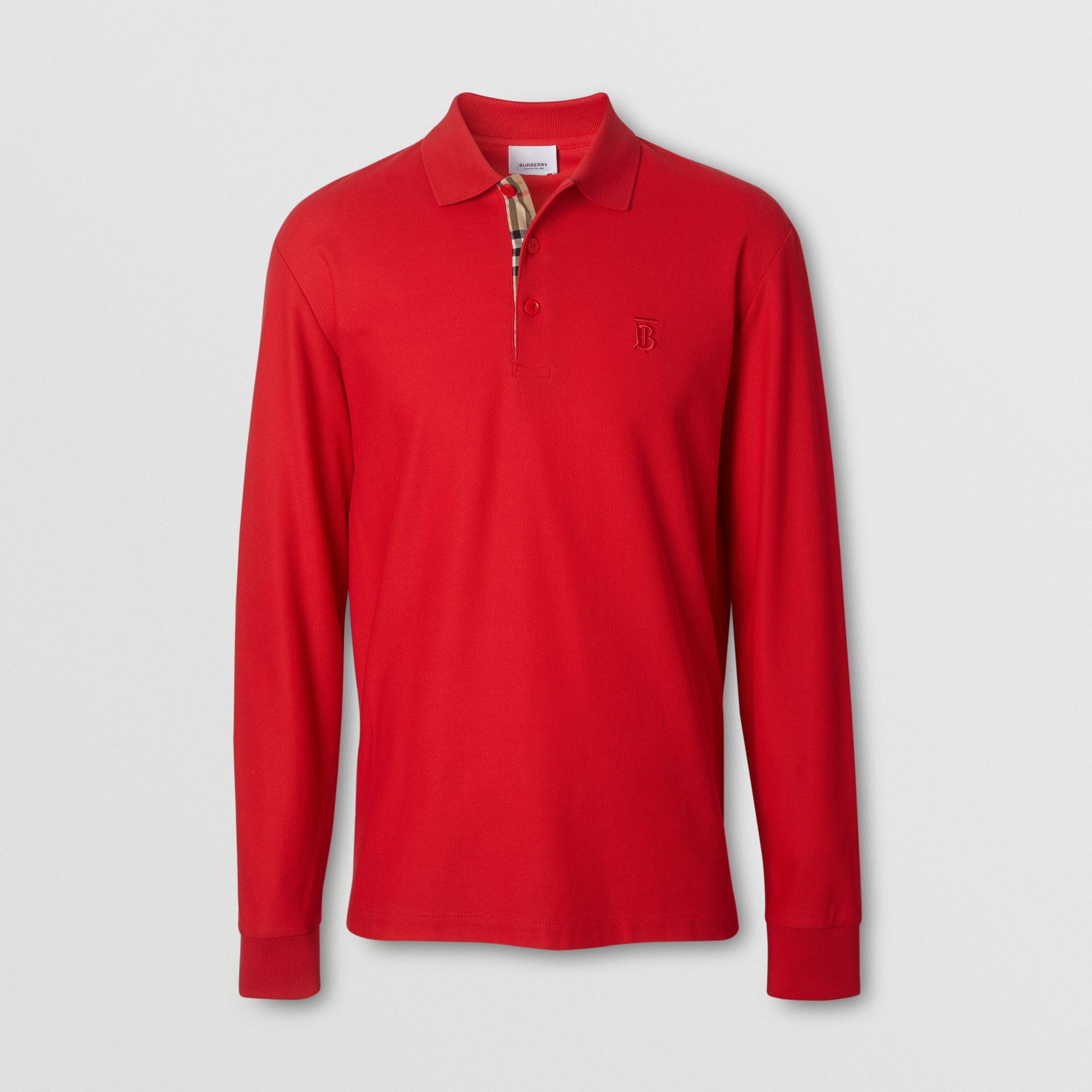 Long-sleeve Monogram Motif Cotton Piqué Polo Shirt in Bright Red - Men | Burberry - gallery image 3