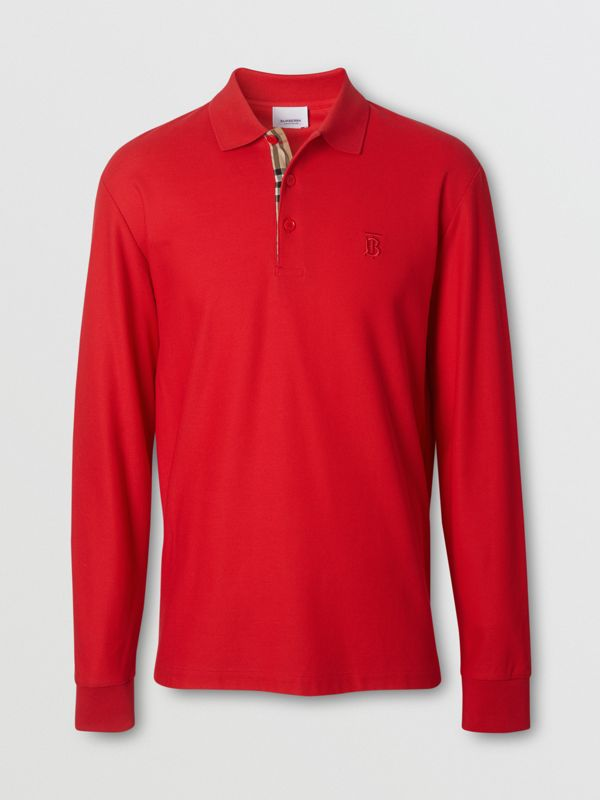 Long-sleeve Monogram Motif Cotton Piqué Polo Shirt in Bright Red - Men | Burberry - cell image 3