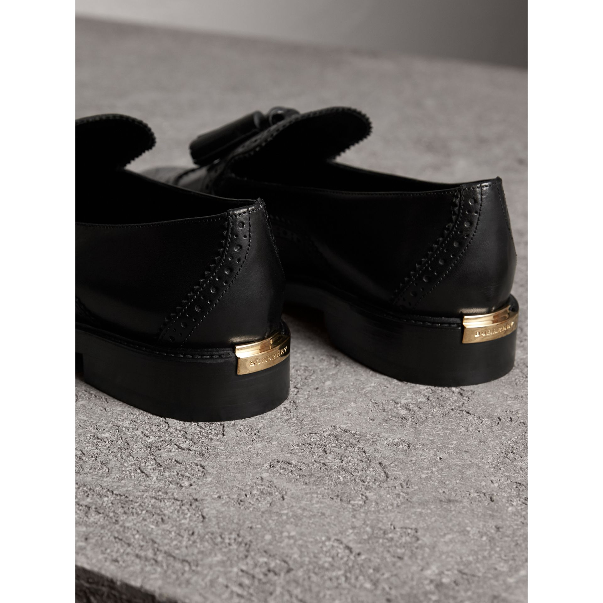 Leather Tassel Loafers in Black - Women | Burberry - gallery image 4