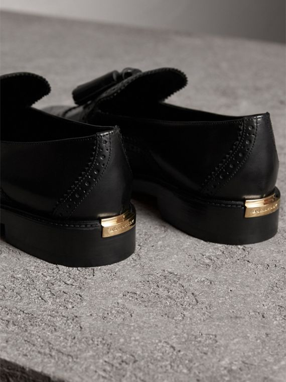 Leather Tassel Loafers in Black - Women | Burberry - cell image 3