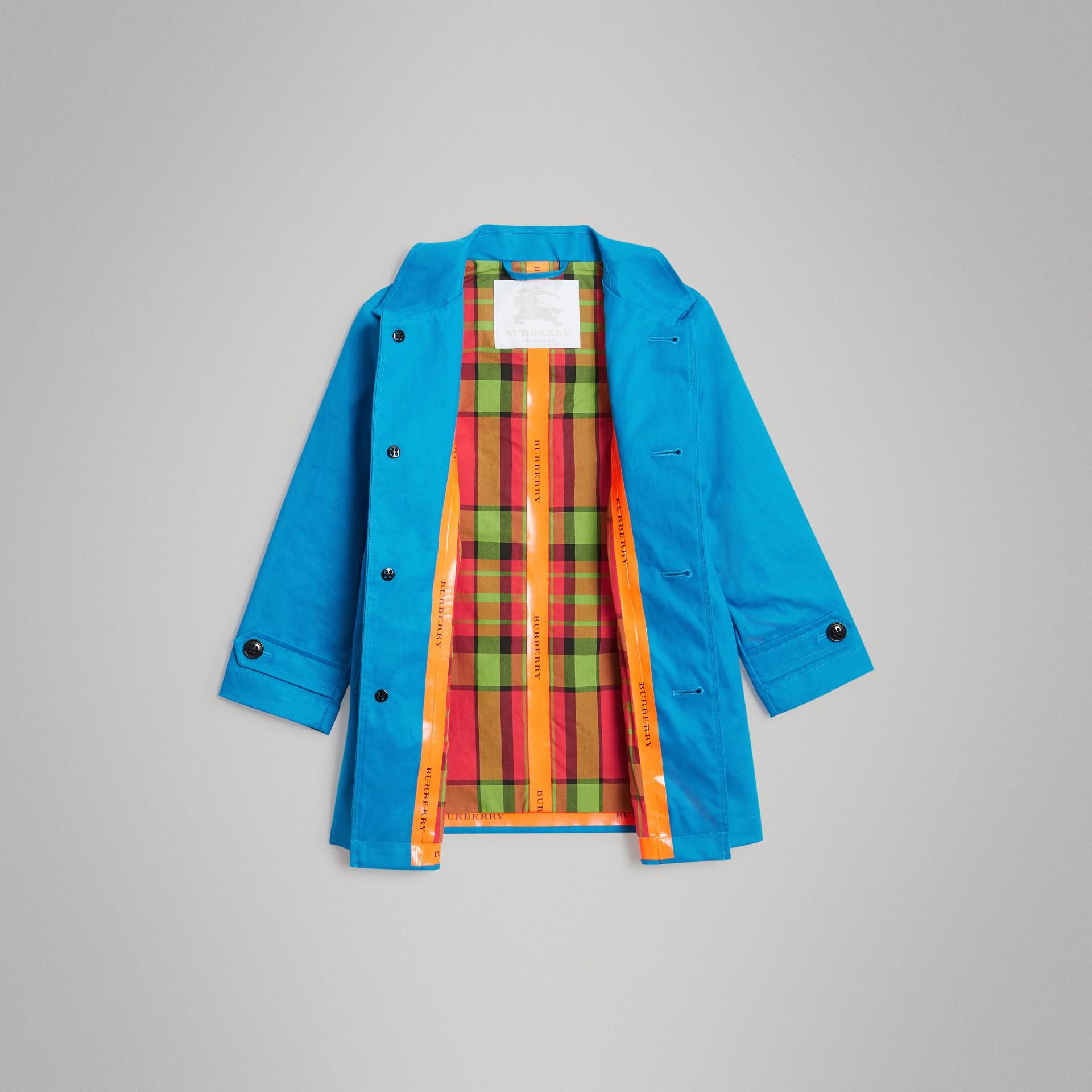 Cappotto car coat in cotone doppiato mercerizzato (Blu Intenso) | Burberry - immagine della galleria 1