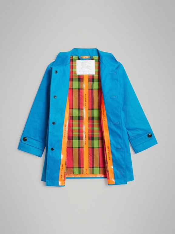 Mercerised Bonded Cotton Car Coat in Bright Blue | Burberry United Kingdom - cell image 1