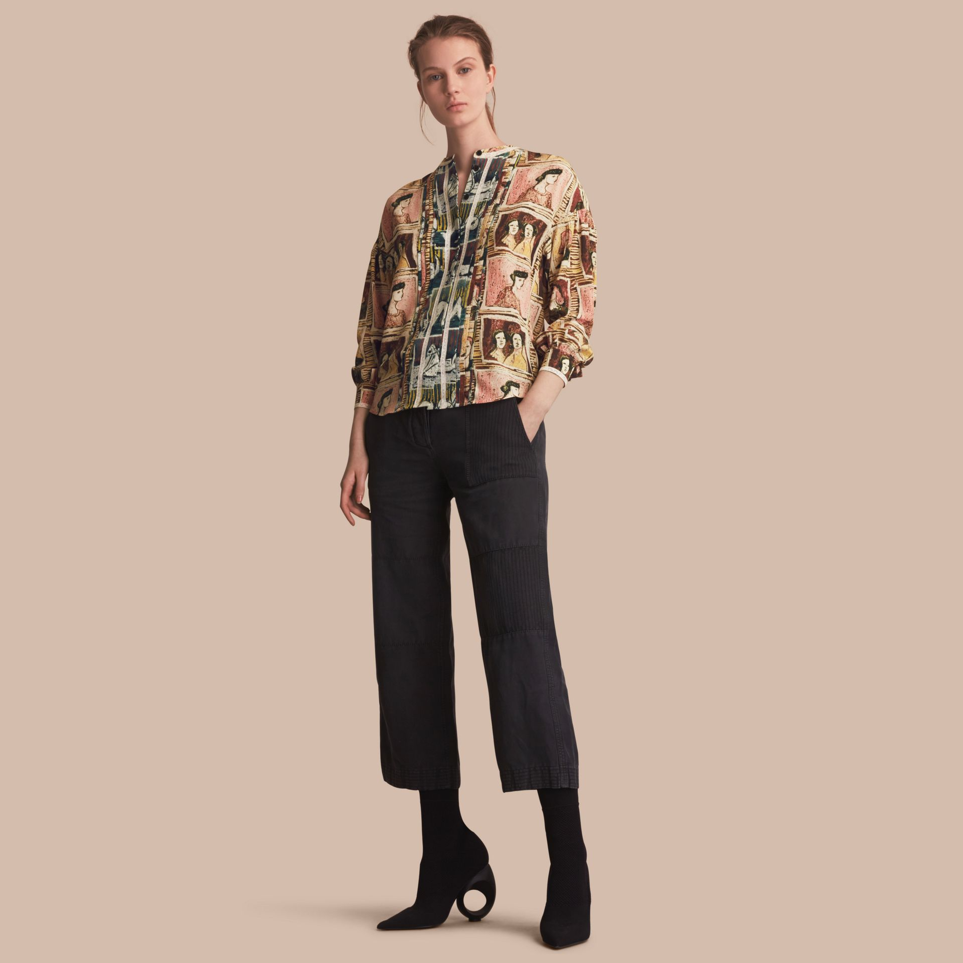 Framed Heads and Reclining Figures Print Silk Shirt in Umber Brown - Women | Burberry - gallery image 1