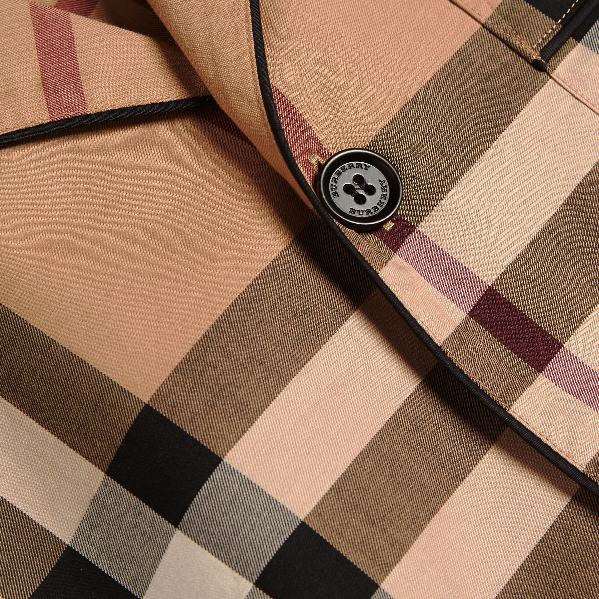 Camel Check Cotton Pyjama-style Shirt Camel - gallery image 3