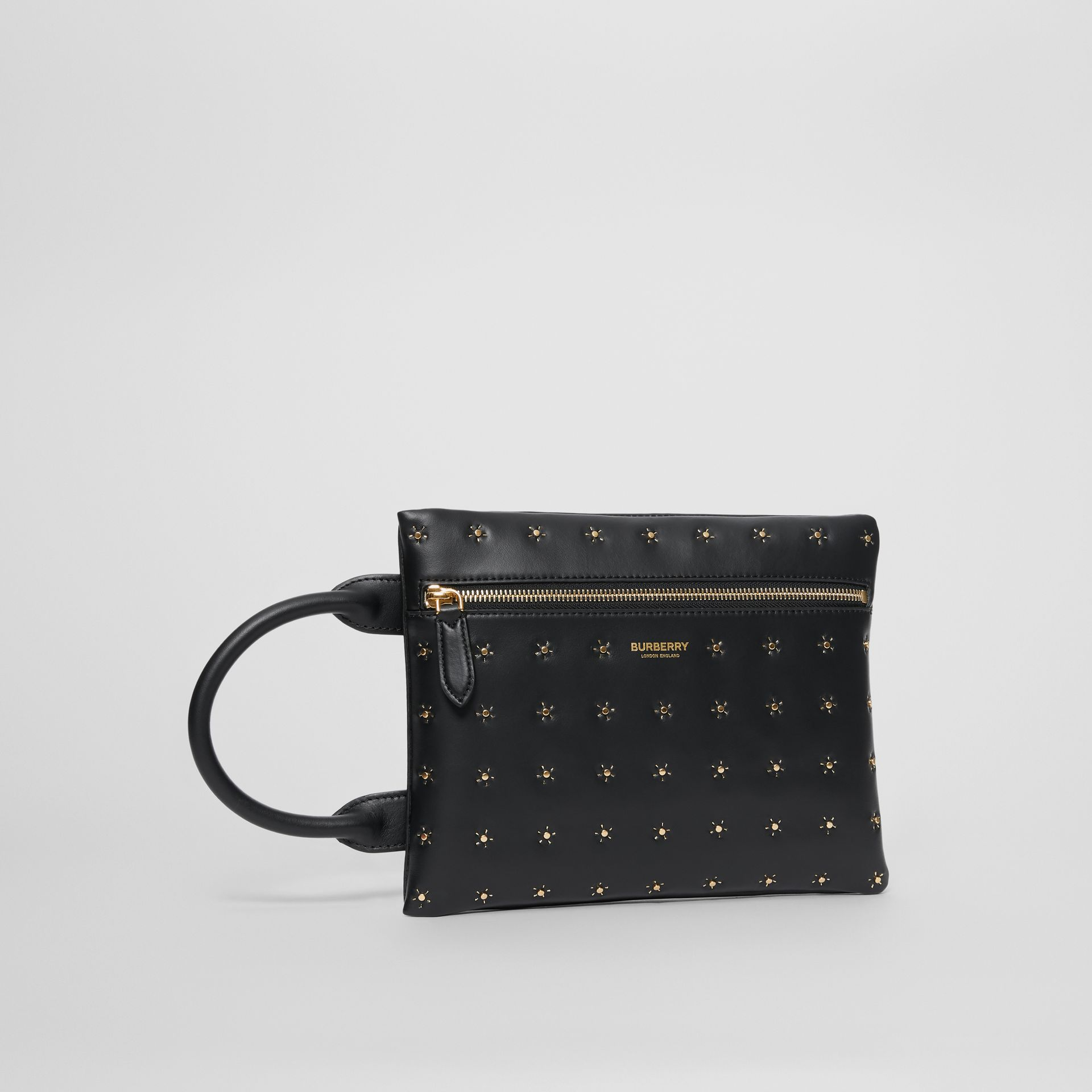 Studded Leather Portrait Pouch in Black | Burberry United Kingdom - gallery image 6