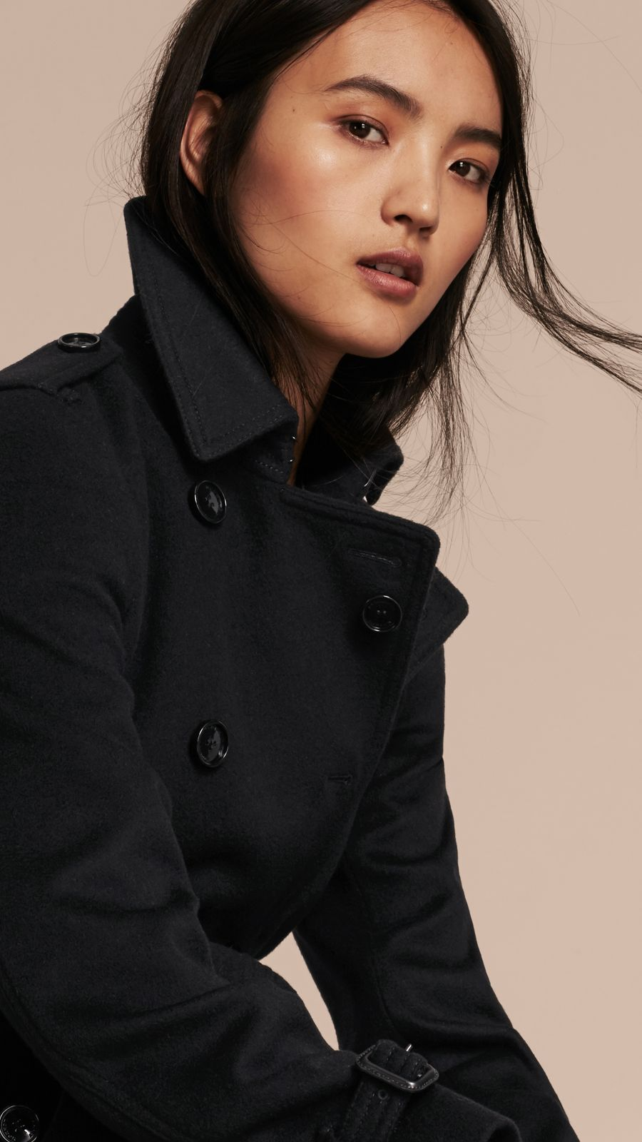 Black Virgin Wool Cashmere Trench Coat - Image 5