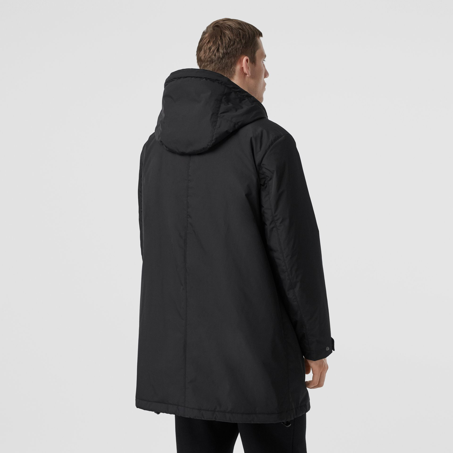 Monogram Motif Nylon Twill Hooded Coat in Black - Men | Burberry Canada - gallery image 2