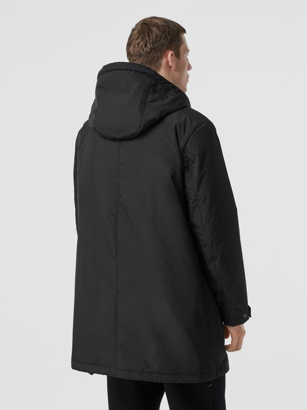 Monogram Motif Nylon Twill Hooded Coat in Black - Men | Burberry United States - cell image 2