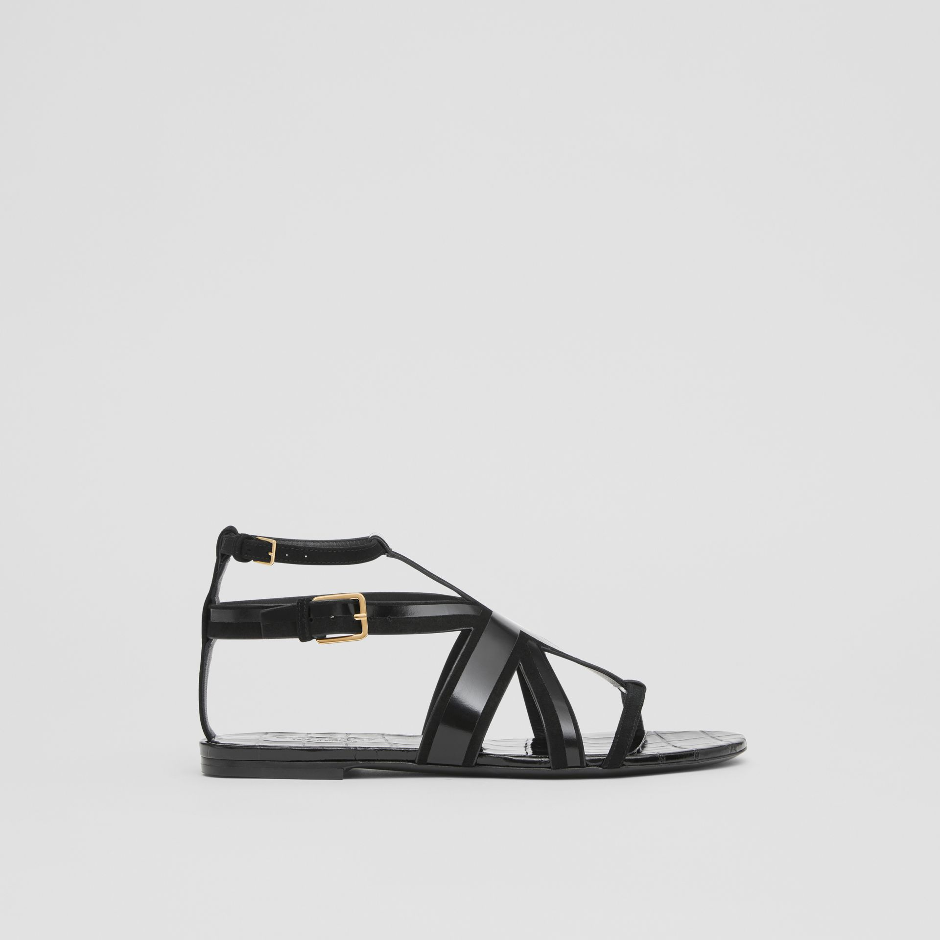 Union Jack Motif Leather and Suede Sandals in Black - Women | Burberry United Kingdom - gallery image 4