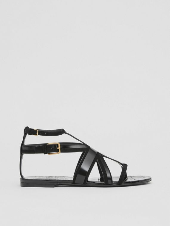 Union Jack Motif Leather and Suede Sandals in Black