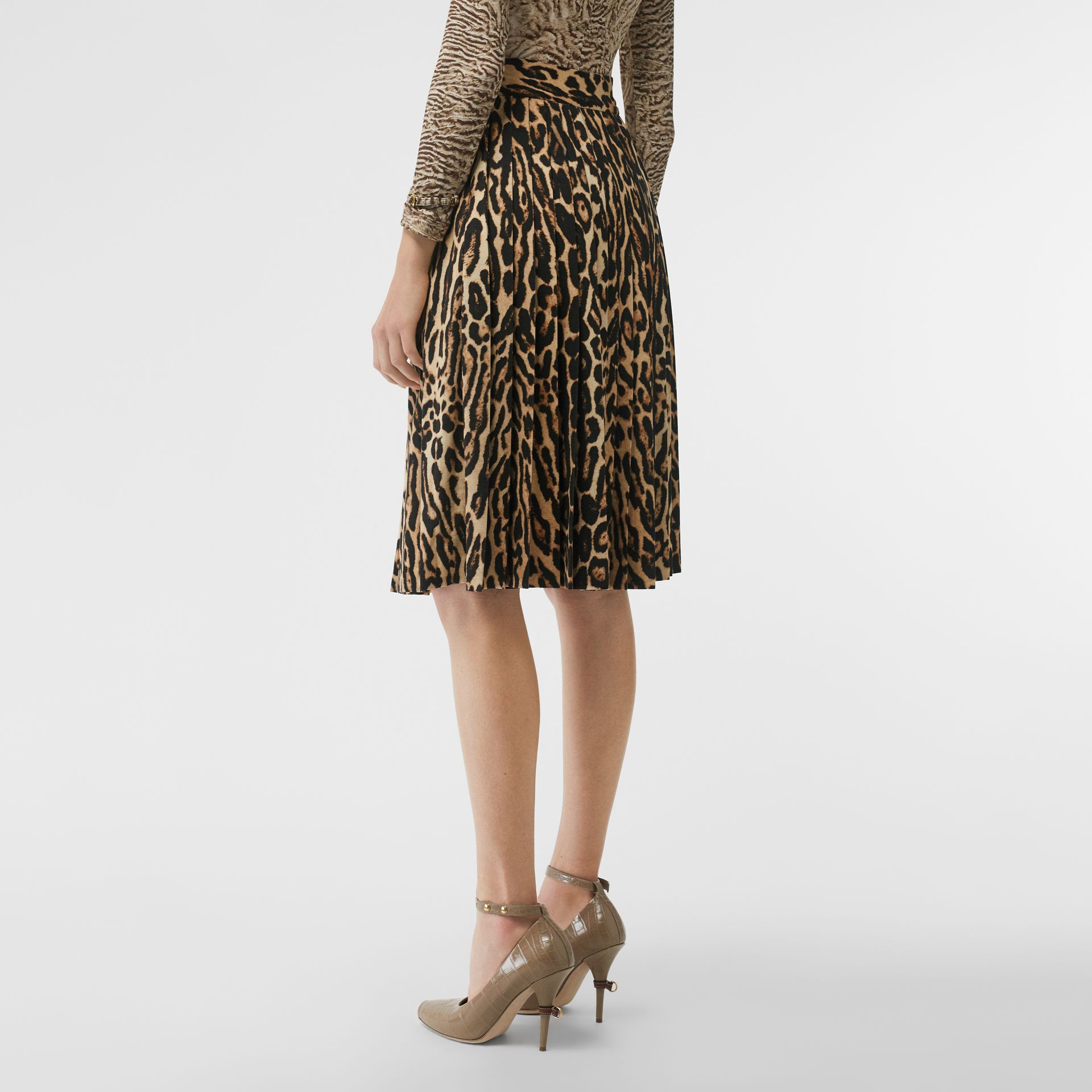 Leopard Print Stretch Silk Pleated Skirt in Camel - Women | Burberry - gallery image 2
