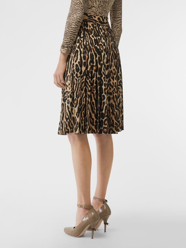 Leopard Print Stretch Silk Pleated Skirt in Camel - Women | Burberry - cell image 2