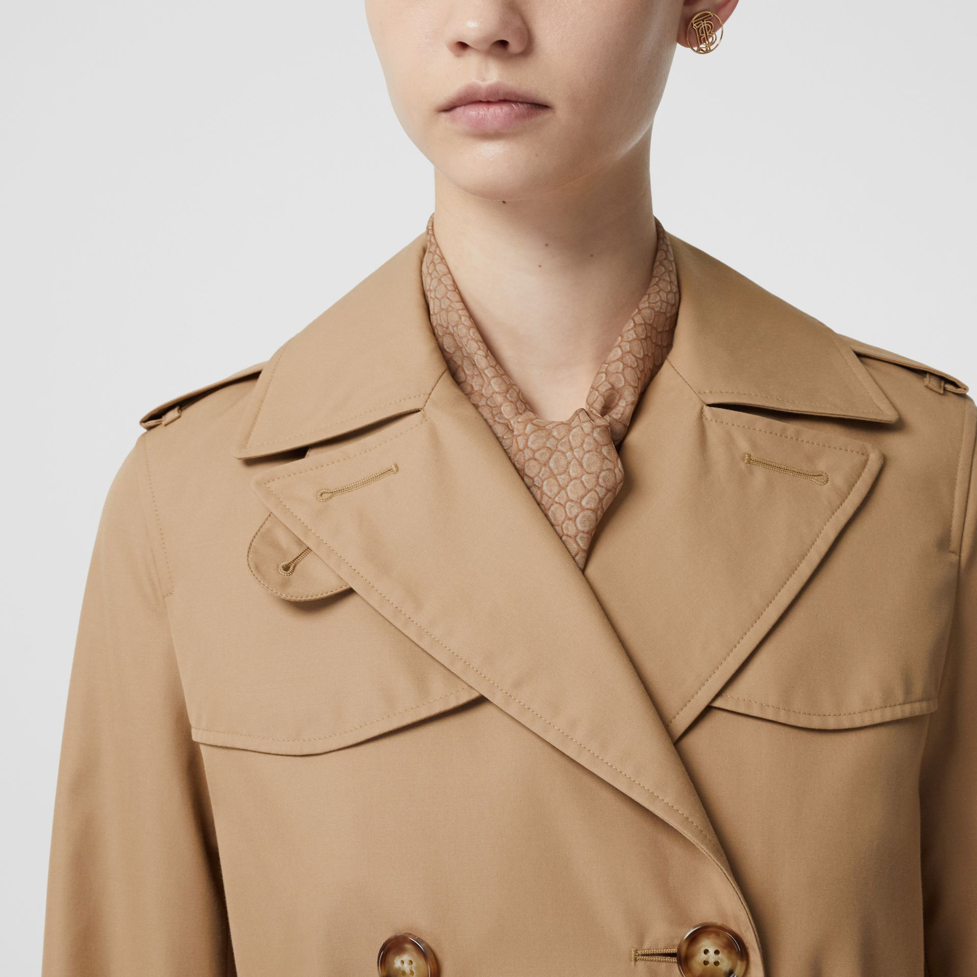 Cotton Gabardine Trench Coat in Biscuit - Women | Burberry - gallery image 4