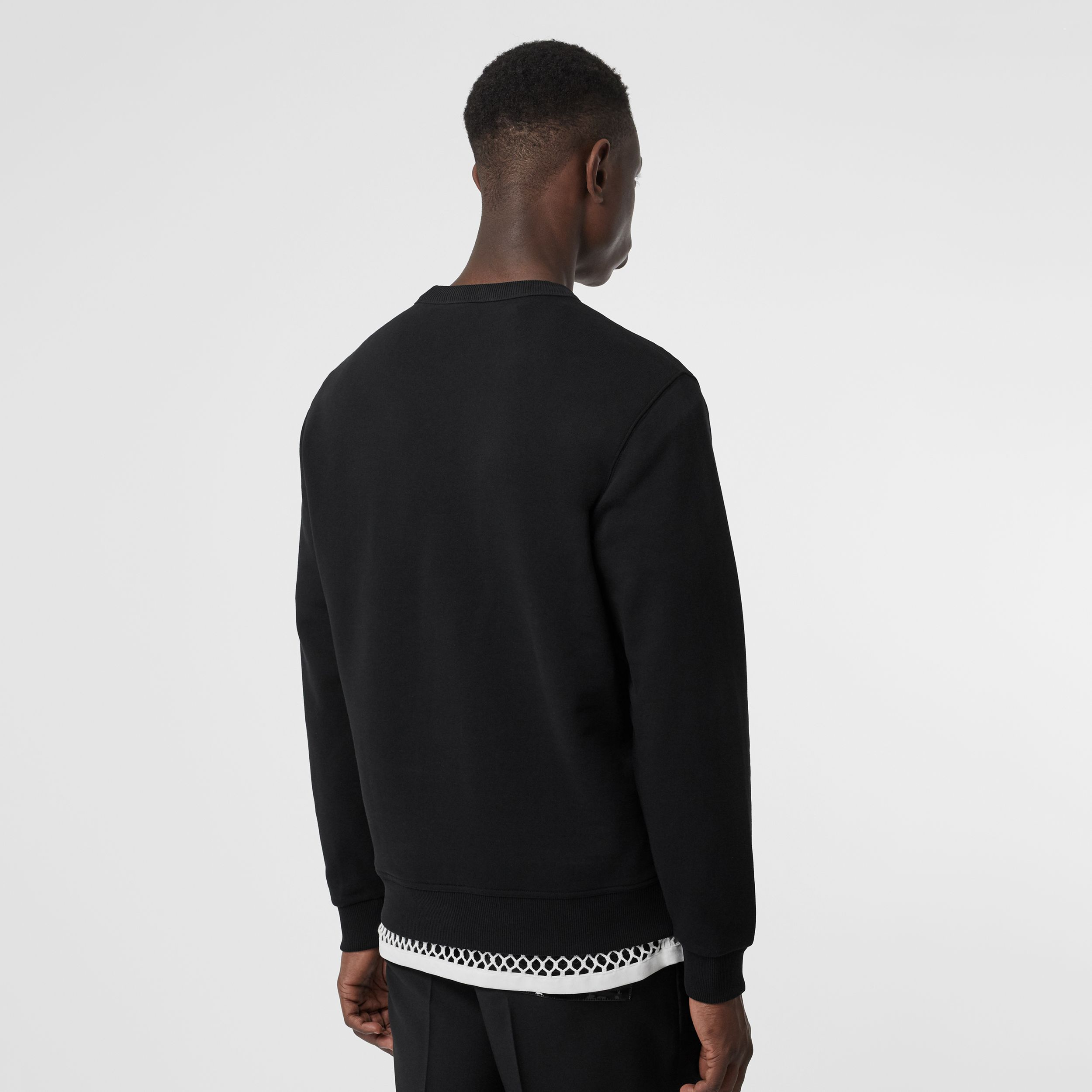 Logo Print Cotton Sweatshirt in Black - Men | Burberry - 3