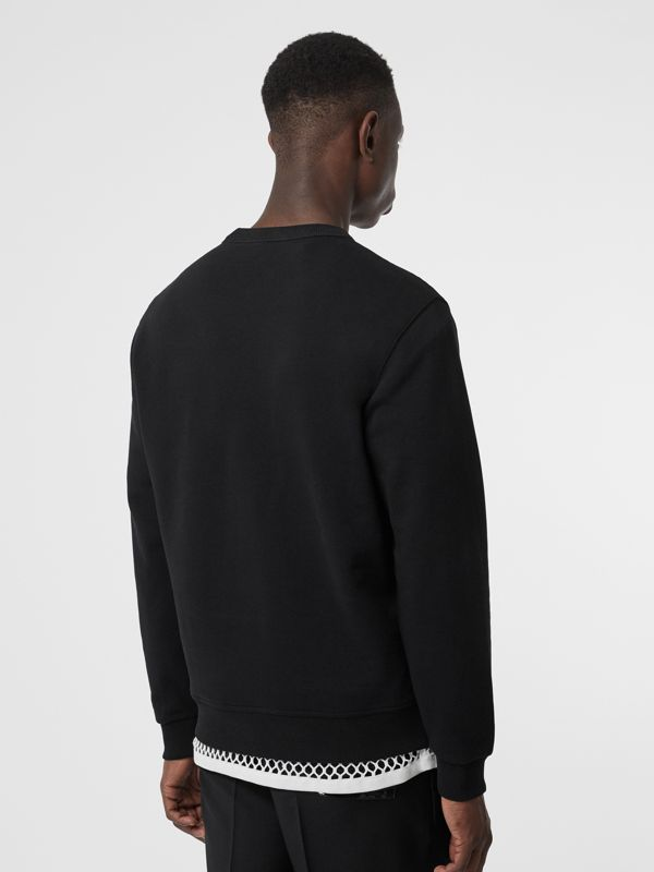 Logo Print Cotton Sweatshirt in Black - Men | Burberry - cell image 2