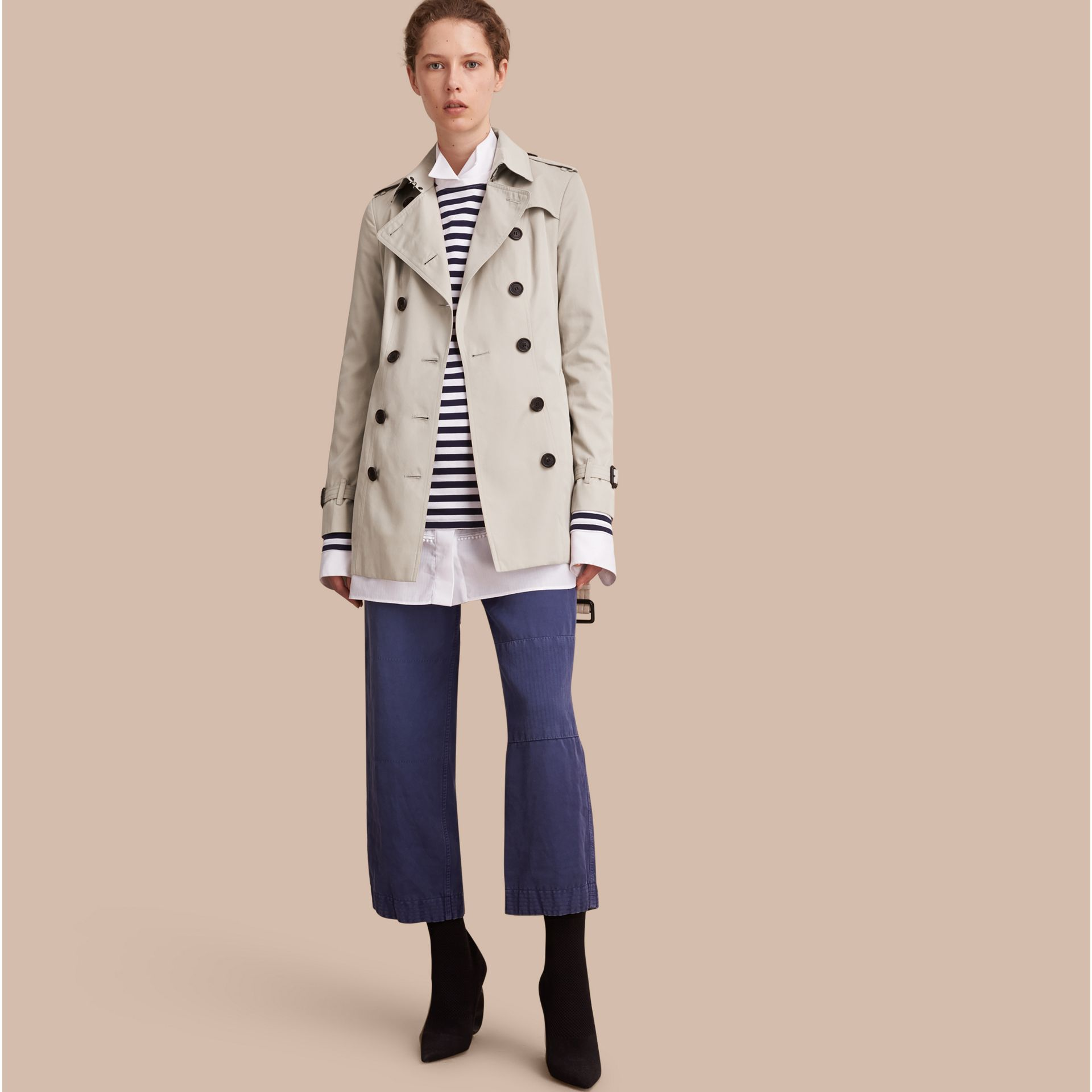 Stone The Sandringham – Short Heritage Trench Coat Stone - gallery image 1