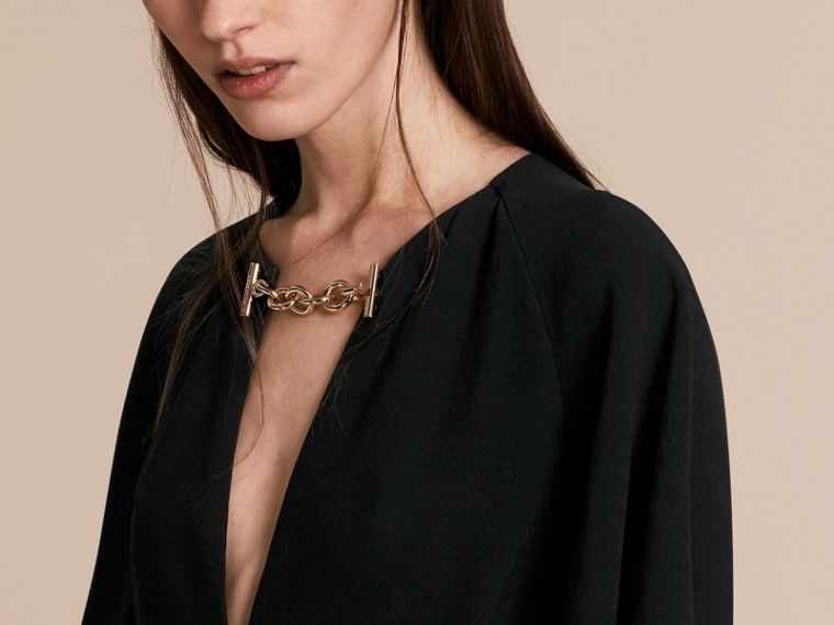 Flared-sleeve Chain Detail V-neck Technical Dress - cell image 4