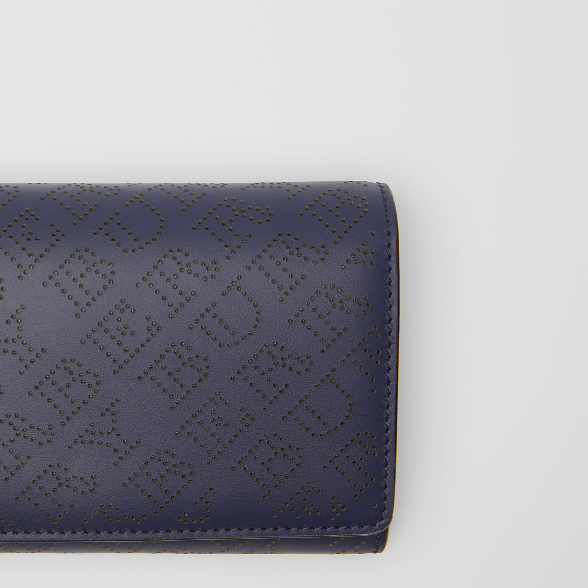 Perforated Logo Leather Wallet with Detachable Strap in Navy - Women | Burberry - gallery image 1