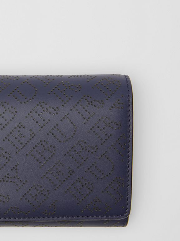 Perforated Logo Leather Wallet with Detachable Strap in Navy - Women | Burberry Australia - cell image 1