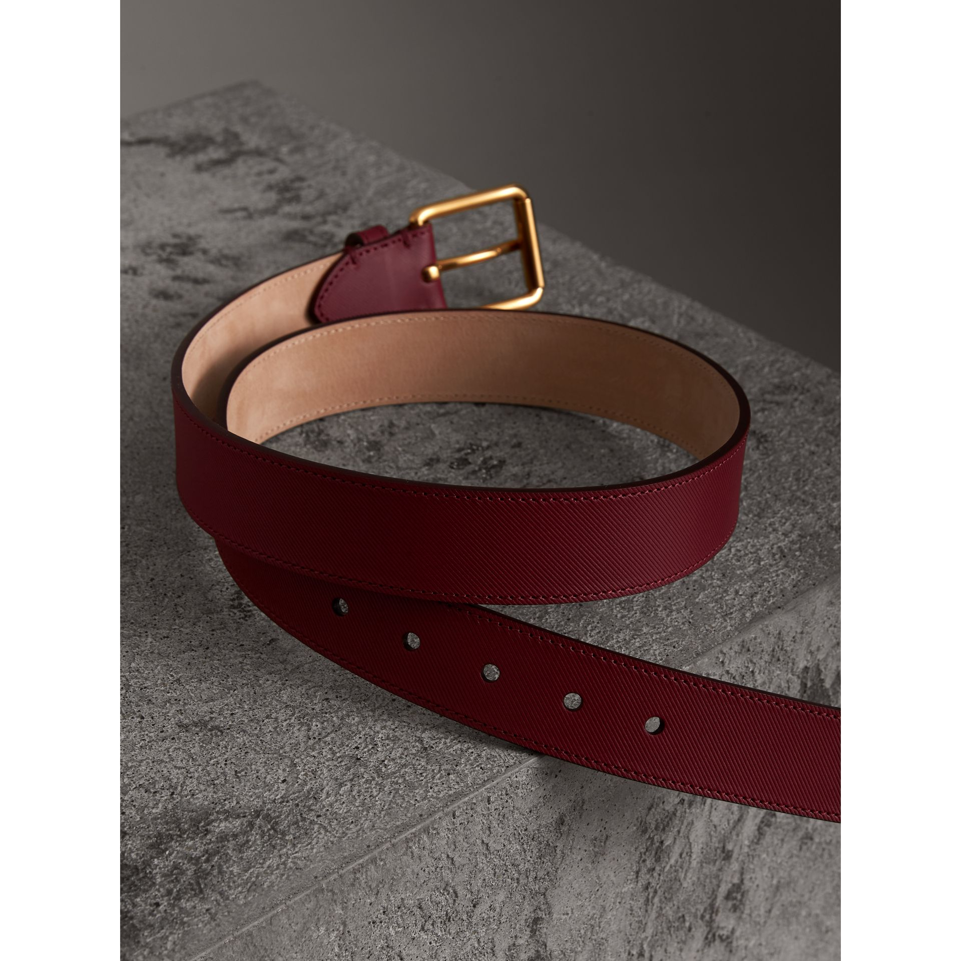 Trench Leather Belt in Antique Red - Men | Burberry Australia - gallery image 3