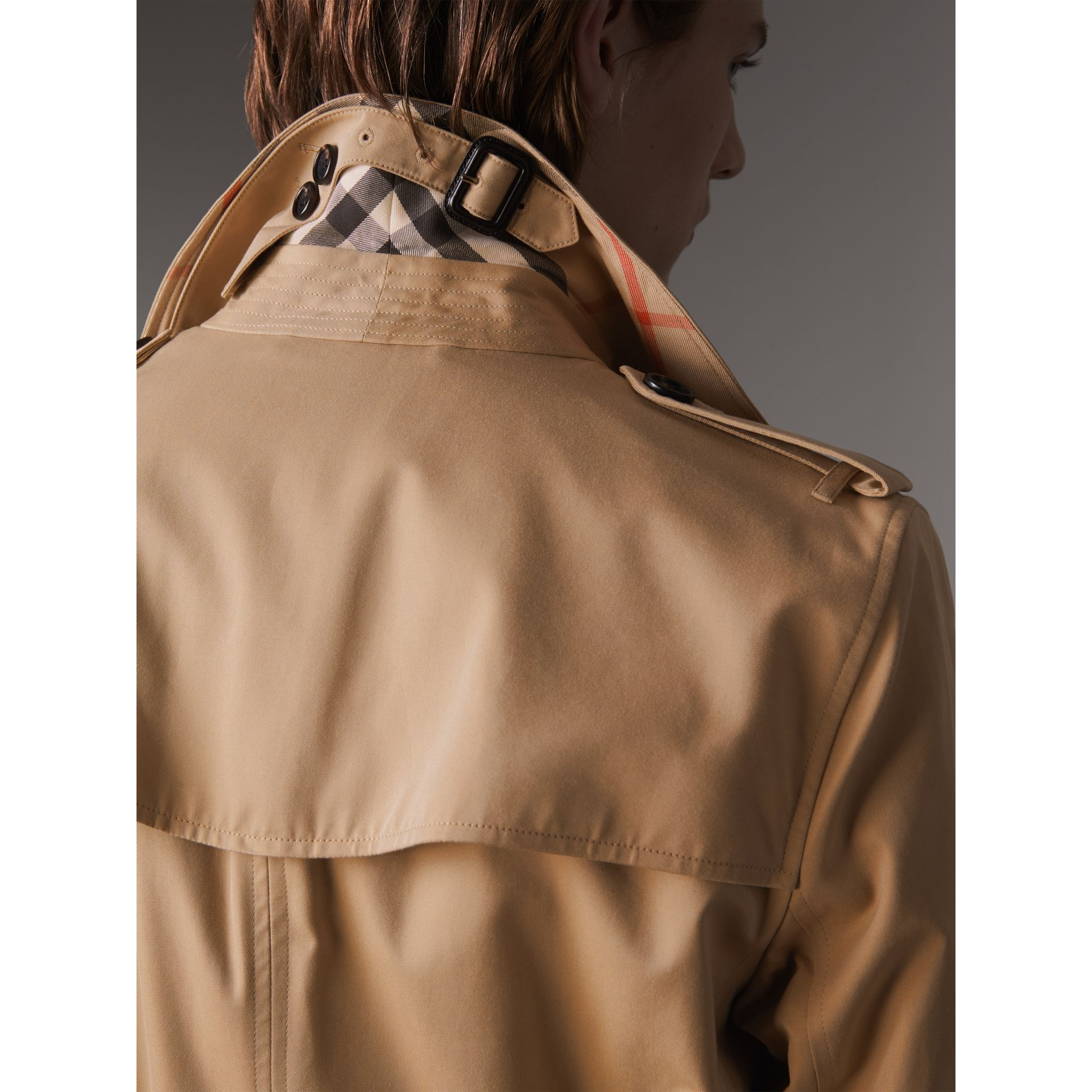 Extra-long Resin Button Cotton Gabardine Trench Coat in Honey - Men | Burberry Australia - gallery image 2