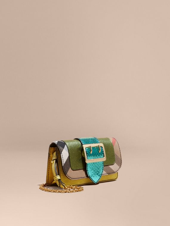 The Mini Buckle Bag in Leather and House Check