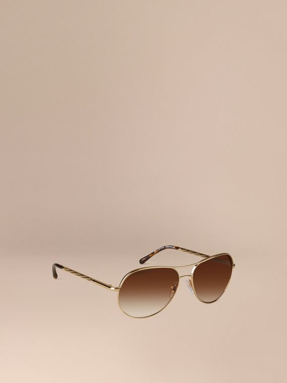 Gabardine Collection Aviator Sunglasses Gold