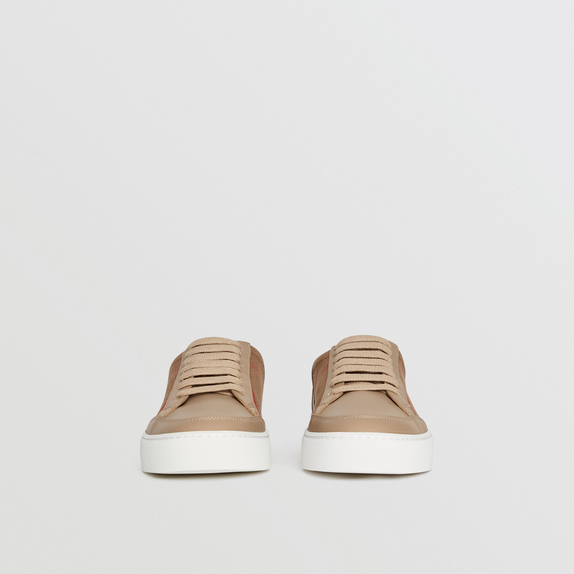 Check Detail Leather Sneakers in House Check/ Nude - Women | Burberry Singapore - gallery image 3