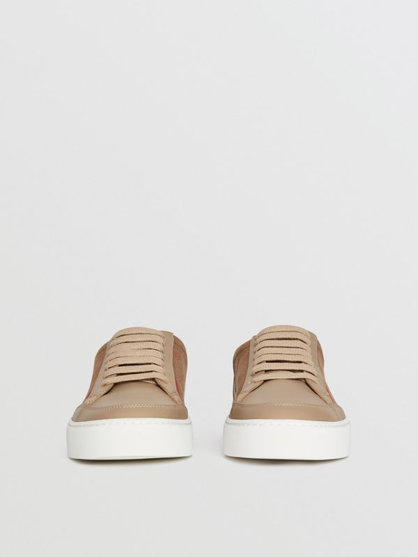Check Detail Leather Sneakers in House Check/ Nude - Women | Burberry Hong Kong S.A.R - cell image 3