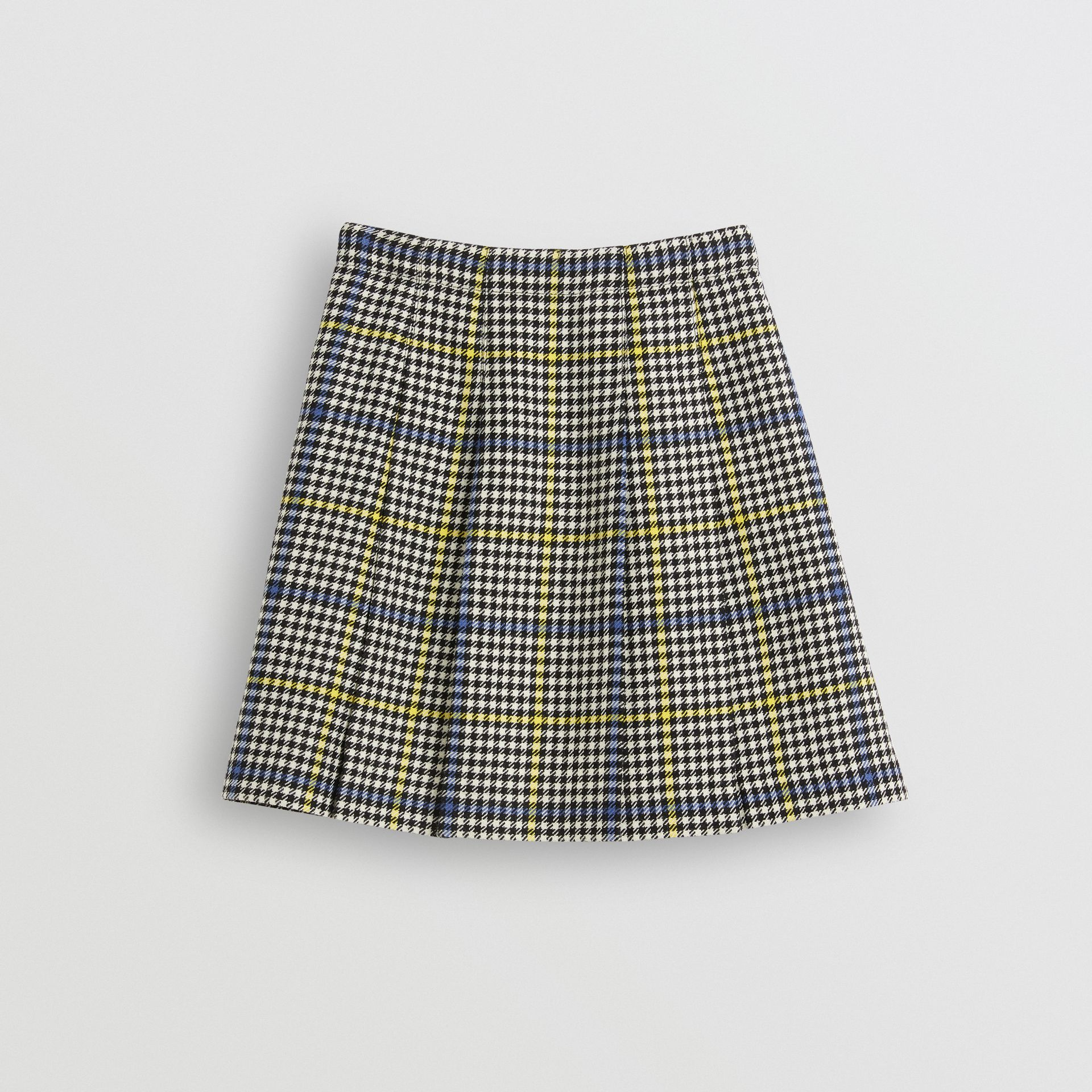 Fringe Detail Houndstooth Check Wool Kilt in Parchment | Burberry United Kingdom - gallery image 3