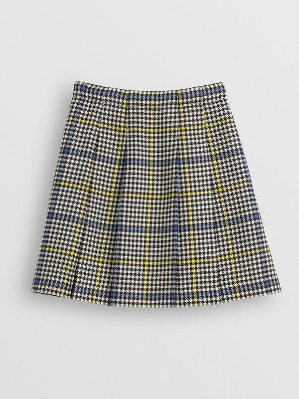 Fringe Detail Houndstooth Check Wool Kilt in Parchment - Children | Burberry - cell image 3