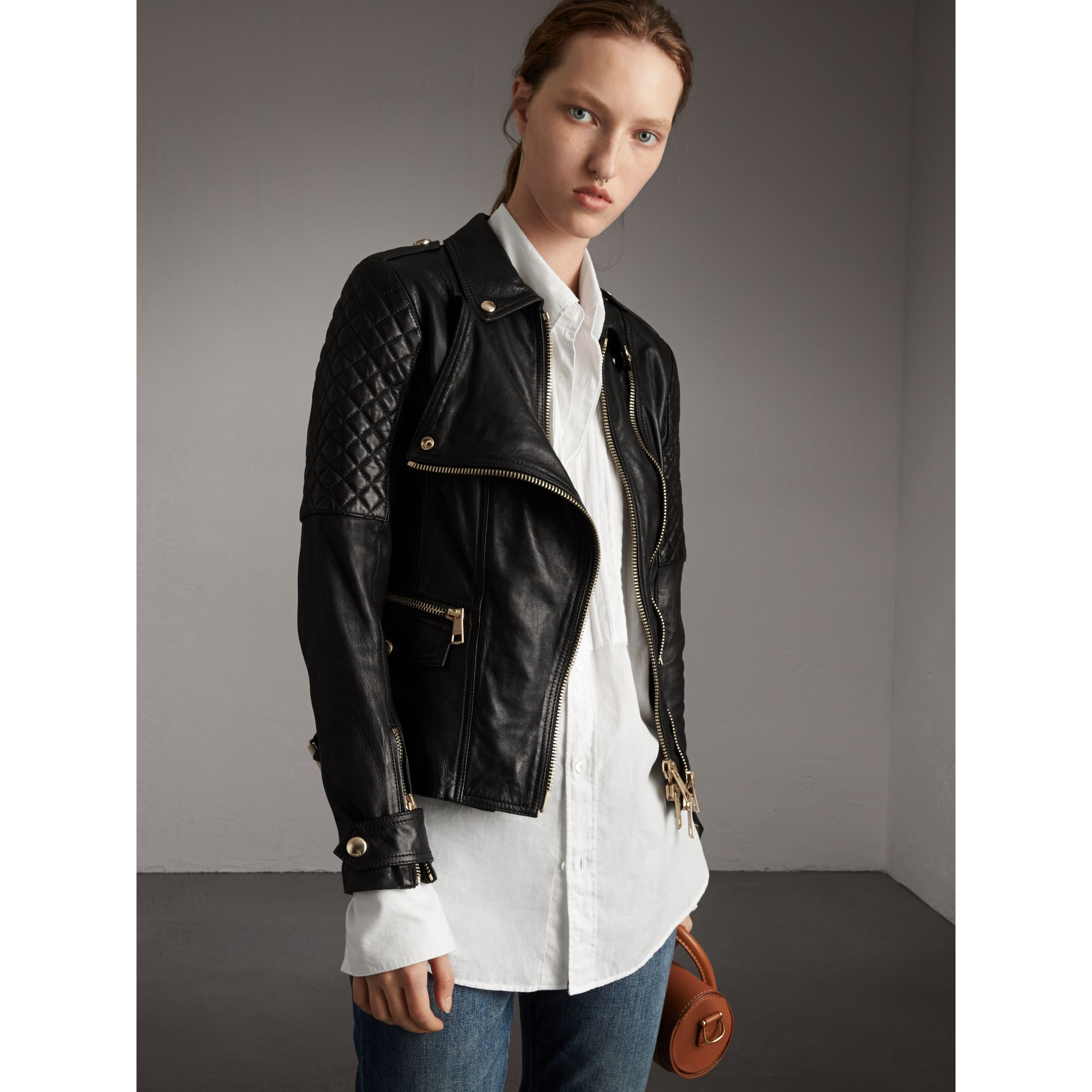 Diamond Quilted Detail Lambskin Biker Jacket in Black - Women | Burberry - gallery image 1