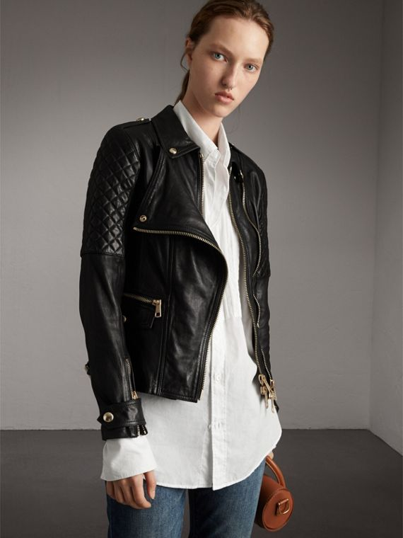 Diamond Quilted Detail Lambskin Biker Jacket in Black