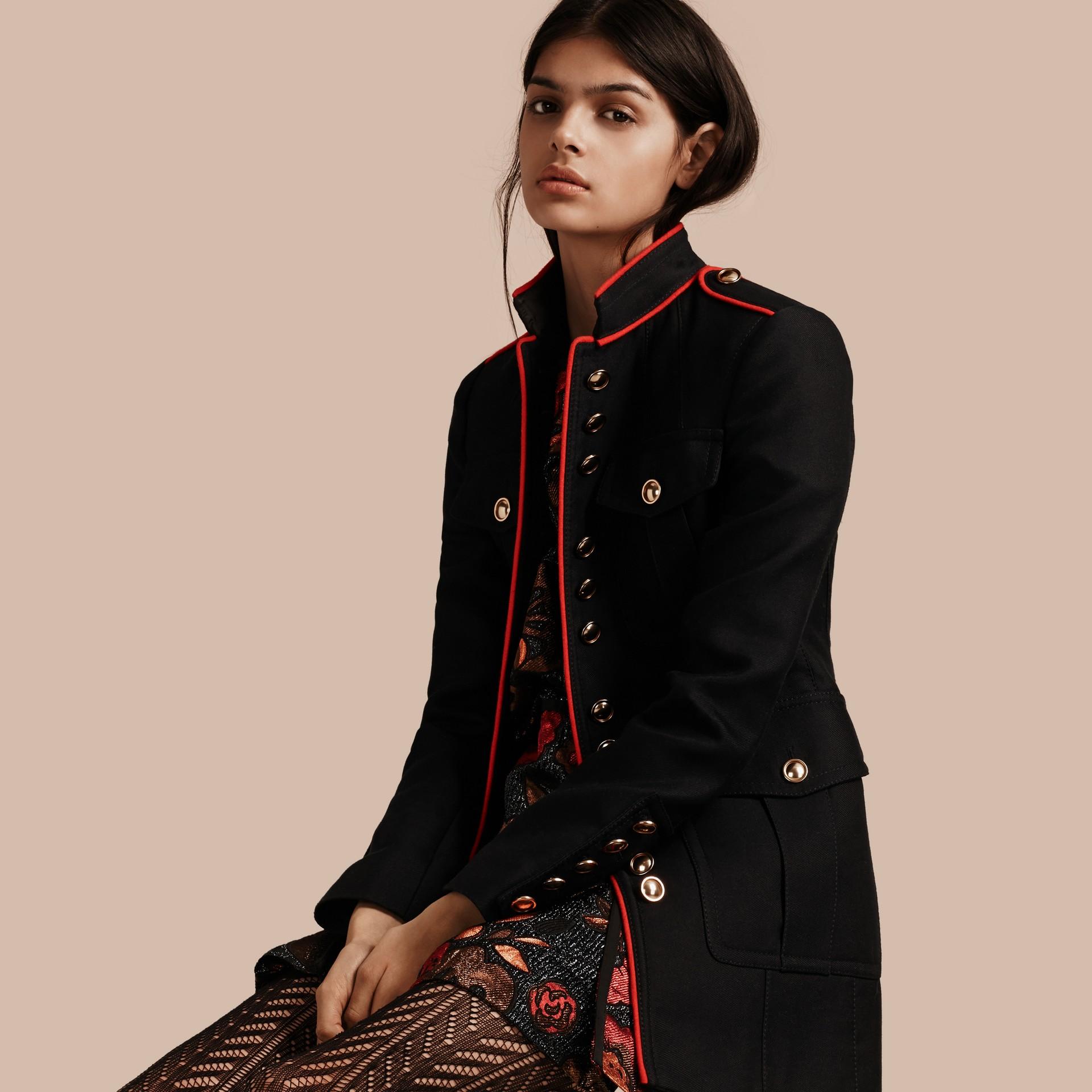 Navy Cotton Silk Regimental Jacket - gallery image 1
