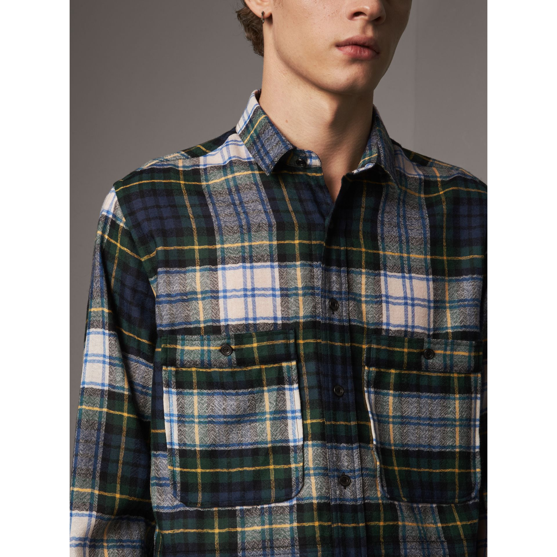 Tartan Wool Shirt in Ink Blue - Men | Burberry - gallery image 3