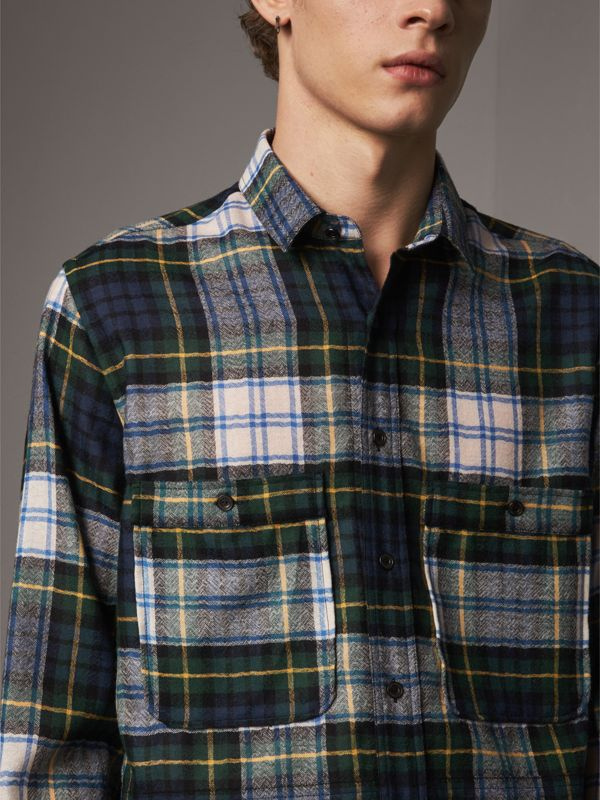Tartan Wool Shirt in Ink Blue - Men | Burberry - cell image 3