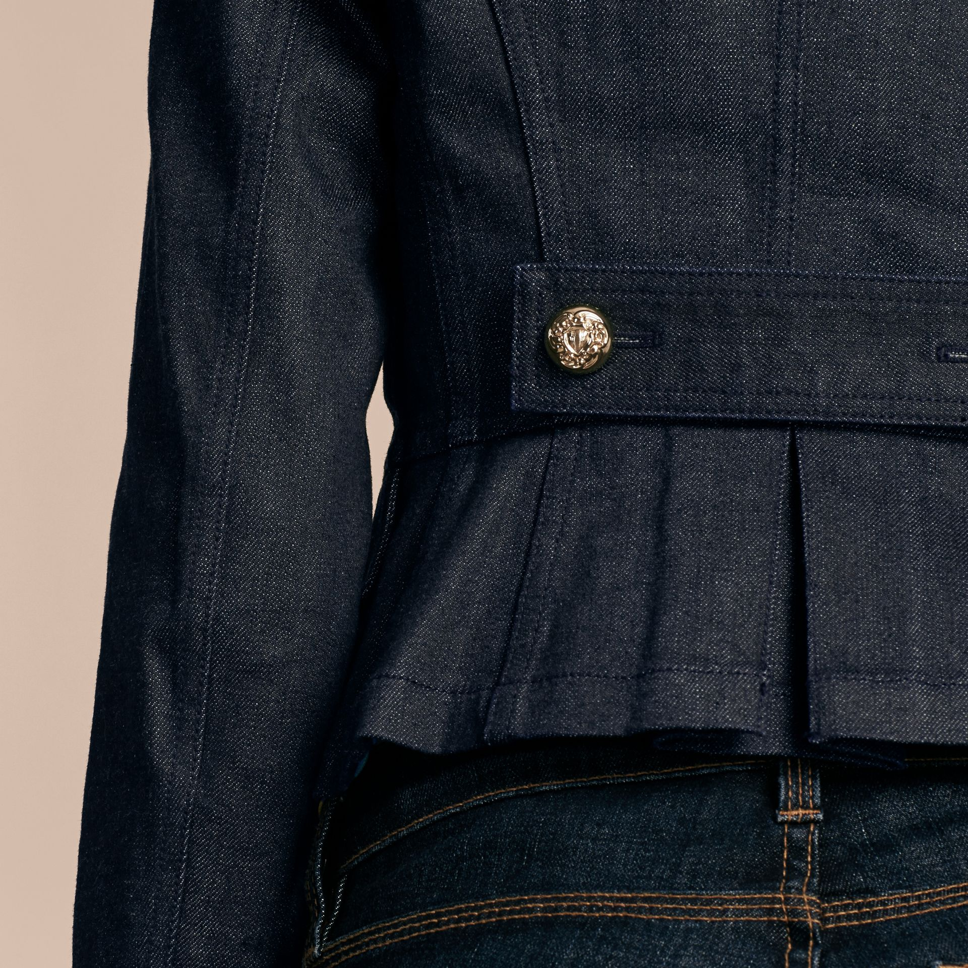 Indigo Stretch Denim Regimental Jacket - gallery image 6