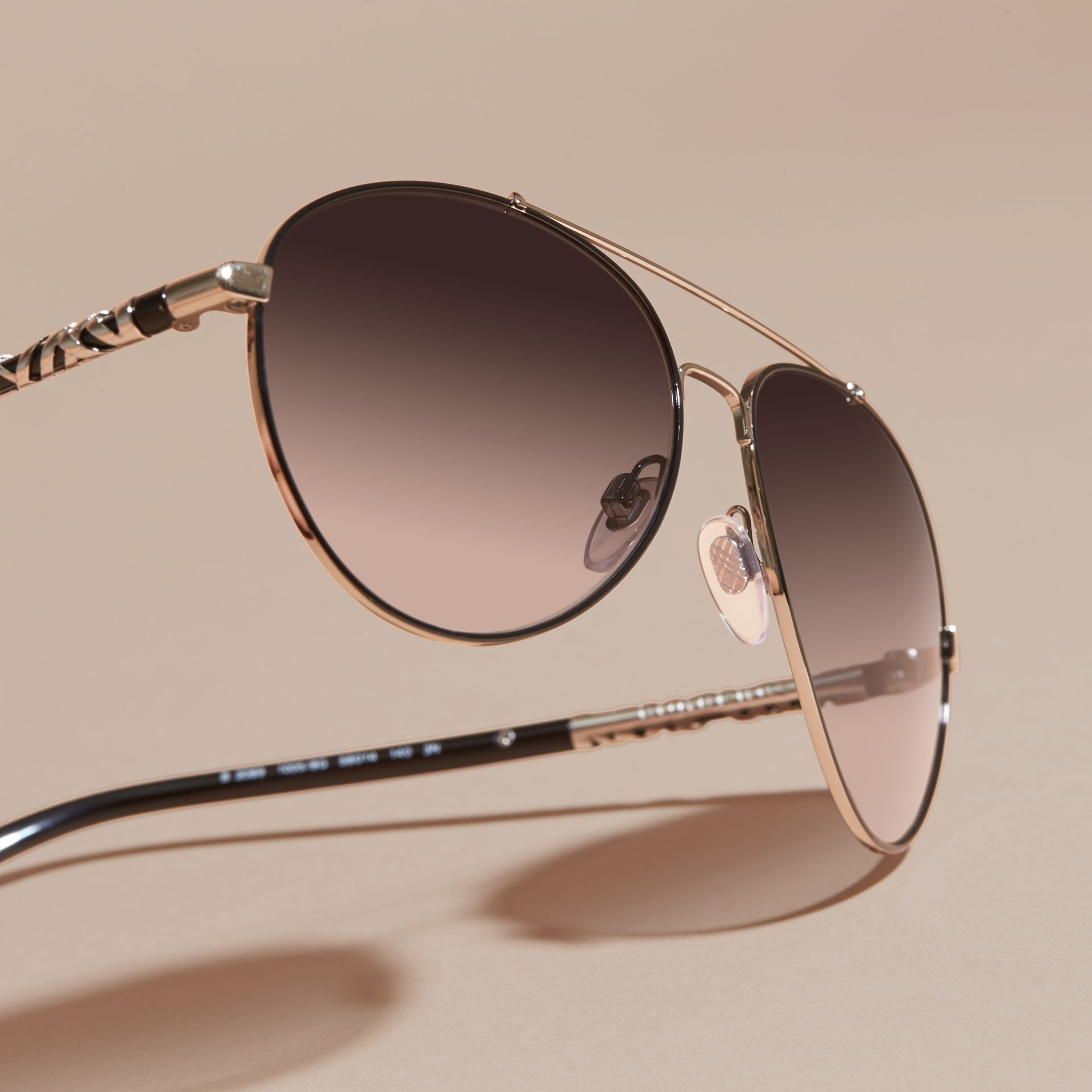 Check Detail Pilot Sunglasses in Grey Lilac - Women | Burberry Canada - gallery image 3