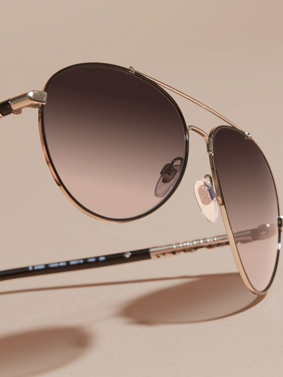 Check Detail Pilot Sunglasses in Grey Lilac - Women | Burberry Canada - cell image 2