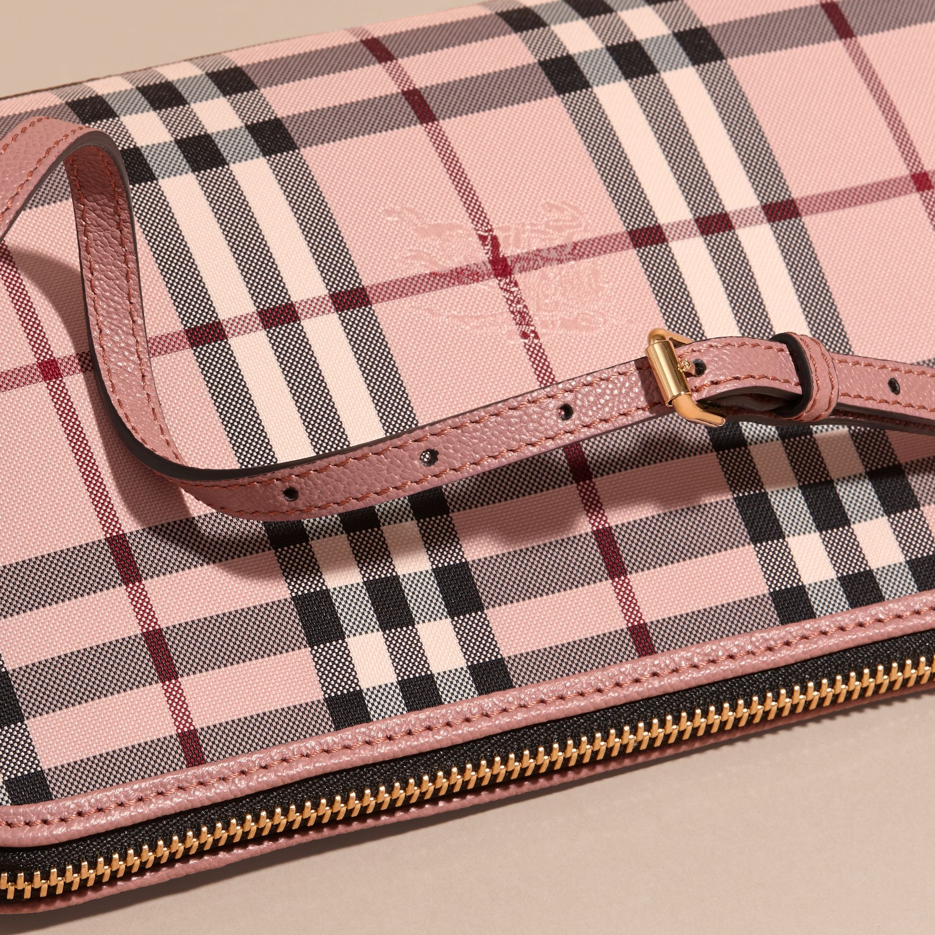 Ash rose/ dusty pink Overdyed Horseferry Check and Leather Clutch Bag - gallery image 7