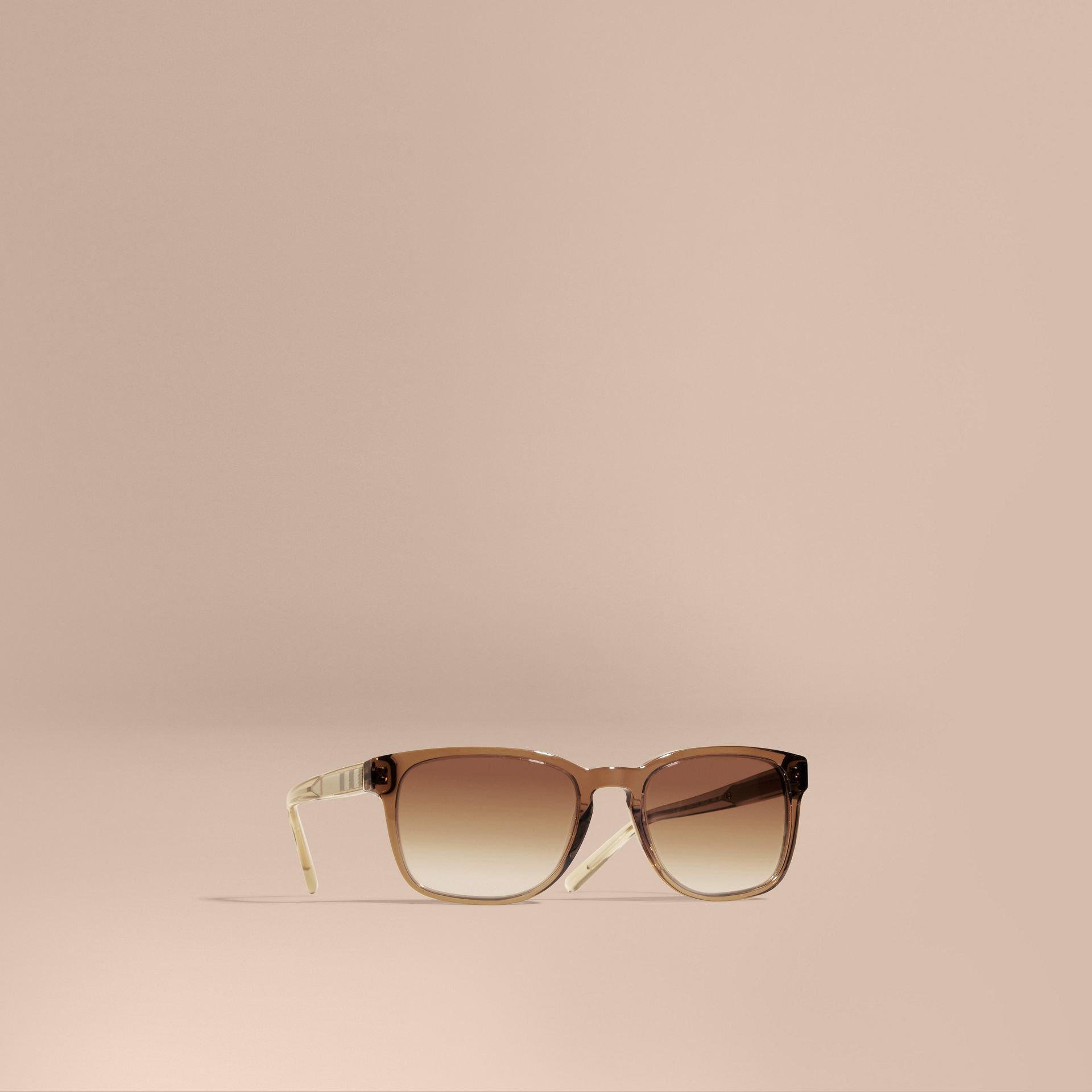 Check Detail Square Frame Sunglasses Taupe Brown - gallery image 1