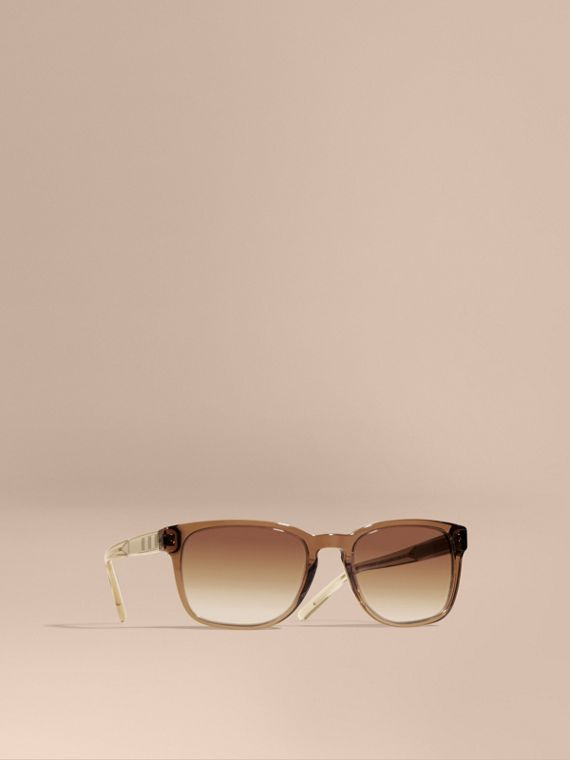 Check Detail Square Frame Sunglasses Taupe Brown