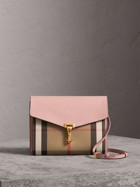 Small Leather and House Check Crossbody Bag in Pale Orchid - Women | Burberry Canada