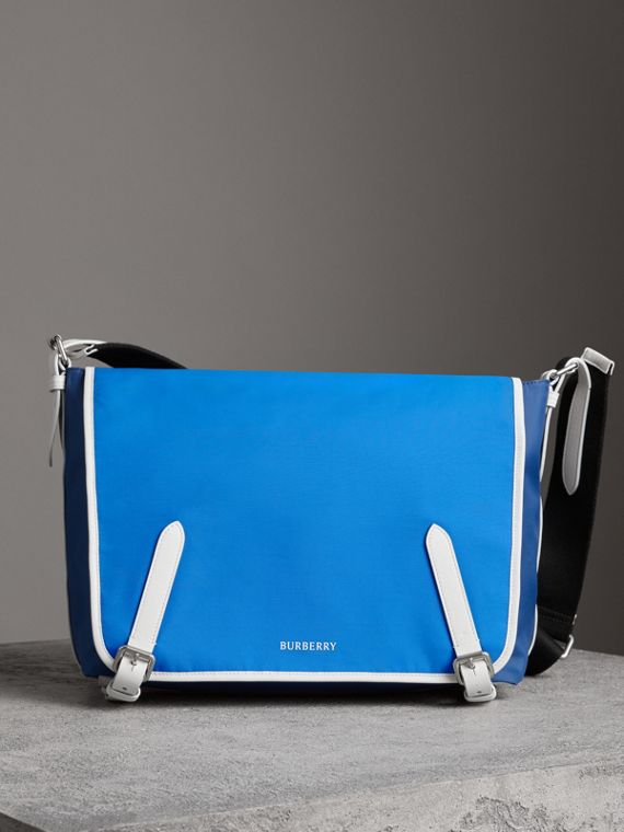 Large Tri-tone Nylon and Leather Messenger Bag in Deep Cerulean Blue