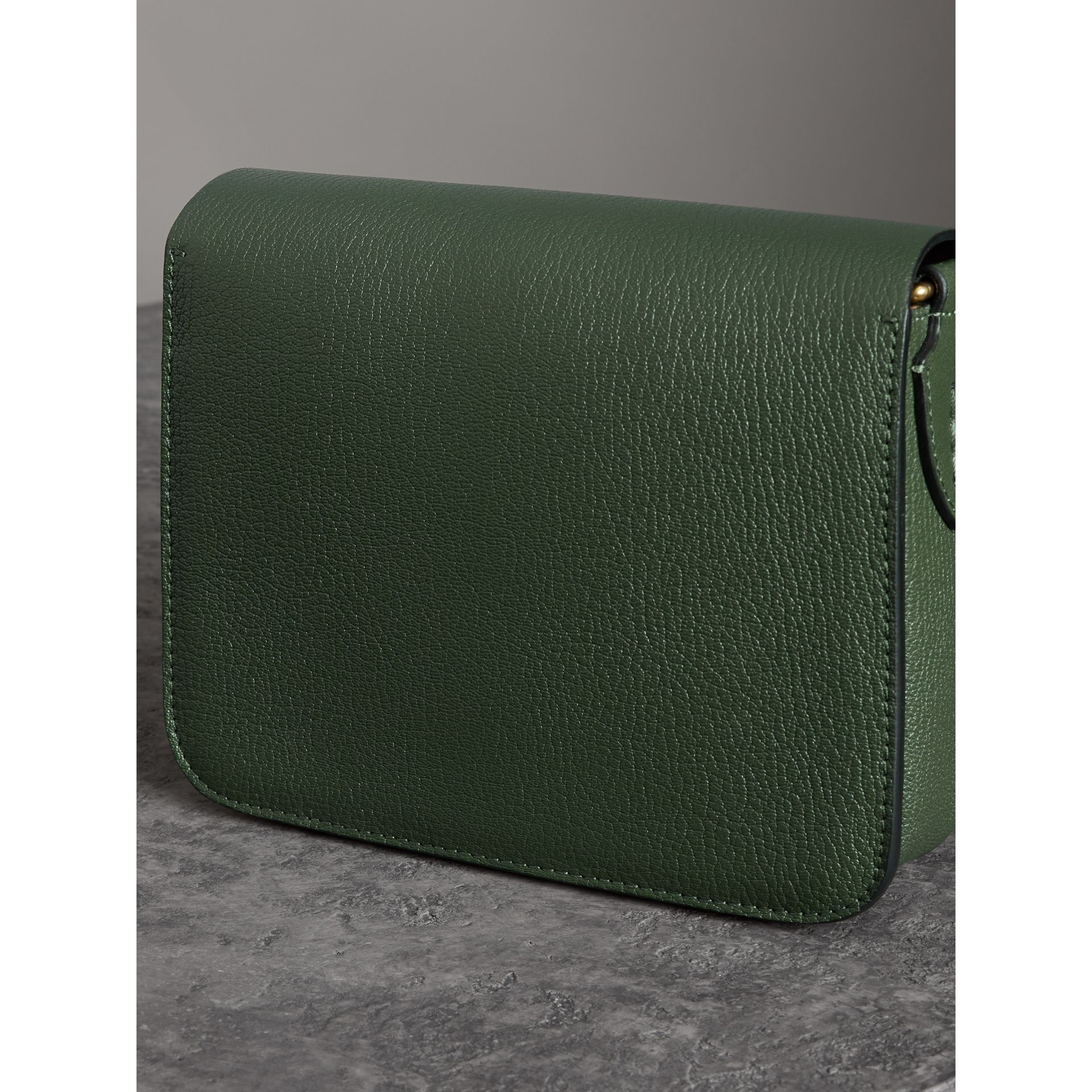 The Square Satchel in Leather in Dark Forest Green - Women | Burberry - gallery image 2