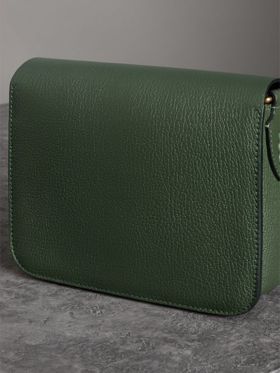 The Square Satchel in Leather in Dark Forest Green - Women | Burberry Australia - cell image 2