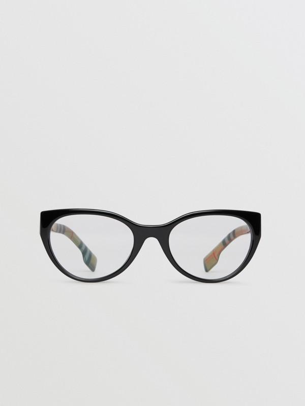 Vintage Check Detail Cat-eye Optical Frames in Black - Women | Burberry - cell image 3